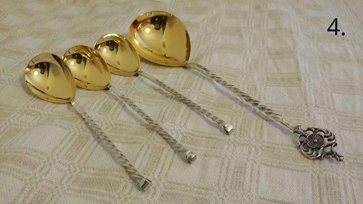 Sudraba, apzeltīti, metāla vintage galda piederumi - dažādi komplekti