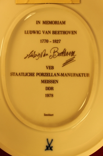 """Meissen"" Настенная фарфоровая плитка Ludwig van Beethoven ГДР с сертификатом - 9/11"